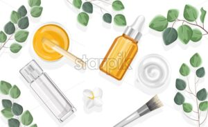 Natural cosmetic products spray bottles and glass with dropper. Leaves on background. Healthcare vector - Starpik Stock