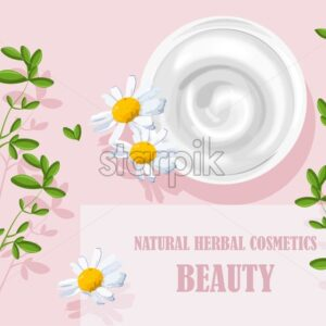 Natural herbal cosmetics white cream with chamomile flowers decorations. Pink background. Body Wellness vector - Starpik Stock