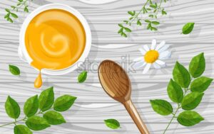 Natural herbal cosmetics yellow colored cream. Green eucalyptus and chamomile flowers decorations. Healthcare vector - Starpik Stock
