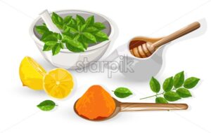 Natural herbal ingredients. Turmeric powder, Sliced lemon, honey pot and eucalyptus herb mill. Vector - Starpik Stock