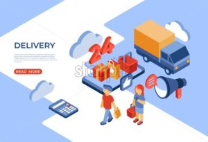 Online store 24 delivery isometric icons flat digital vector with happy customers - Starpik Stock