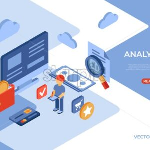 Online store analytics isometric icons flat digital vector with engineering team - Starpik Stock