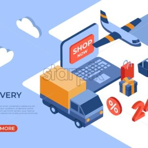 Online store delivery isometric flat icons digital vector with happy customers - Starpik Stock