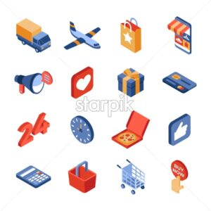 Online store delivery isometric icons flat digital vector - Starpik Stock