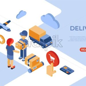 Online store delivery isometric icons flat digital vector with happy customers - Starpik Stock