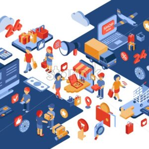 Online store isometric icons flat digital vector with happy customers and engineering team - Starpik Stock