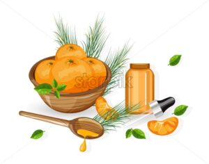 Orange essential oil bottle with dropper. Fruits in wooden basket. Natural aromatherapy idea vector. Leaves on background - Starpik Stock