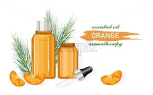 Orange essential oil bottle with dropper. Made from fruit. Natural aromatherapy idea vector. Leaves on background - Starpik Stock