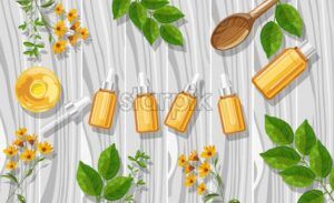 Orange essential oil bottles with dropper. Made from fruit. Natural aromatherapy idea vector. Leaves and flowers on background - Starpik Stock
