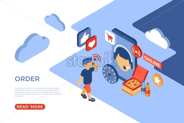 Order online store isometric icons flat digital vector with happy customers - Starpik Stock