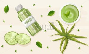 Organic aloe vera treatment vector. Lime slices, mint leaves and plant oil in bottle. View from top composition. Natural herbal cosmetic Vector - Starpik Stock