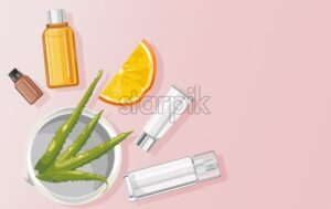 Organic aloe vera treatment vector. Orange slices and plant oil in bottles. View from top composition. Natural herbal cosmetic Vector - Starpik Stock