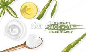Organic aloe vera treatment vector. White cream and plant oil in bottle. View from top composition. Natural herbal cosmetic Vector - Starpik Stock