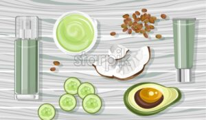 Organic avocado treatment products with spray bottles and tubes. Coconut and cucumber slices. Wooden background. Natural herbal cosmetic Vector - Starpik Stock