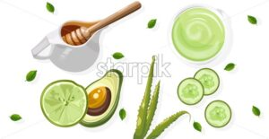 Organic avocado treatment products with spray bottles and tubes. Honey jar and cucumber slices. Wooden background. Natural herbal cosmetic Vector - Starpik Stock