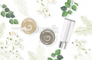 Organic body care products composition. Cream with bottles, green leaves and chamomile flowers. White background. Natural herbal cosmetic Vector - Starpik Stock