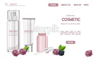 Organic cosmetic products site template. Berries and mint leaves decorations. Natural healthcare vector - Starpik Stock
