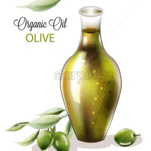 Organic olive oil in abstract shape glass. Composition with green leaves. Watercolor vector - Starpik Stock