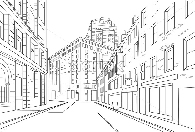 Outline sketch vector of an town city with signs and straight architecture - Starpik Stock