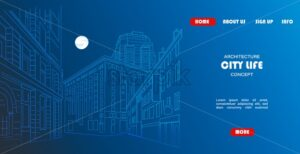 Outline sketch vector of an town city with signs and straight architecture. Architecture life site template - Starpik Stock