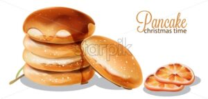Pancakes dripping with syrup. Orange slices vector - Starpik Stock
