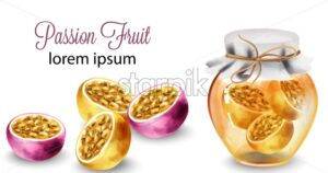 Passion Fruit sliced and in honey jar. Banner background - Starpik Stock