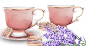 Pink watercolor tea cups with macaroon sweets and lavender. Vector - Starpik Stock
