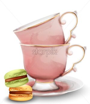 Pink watercolor tea cups with macaroon sweets. Vector - Starpik Stock
