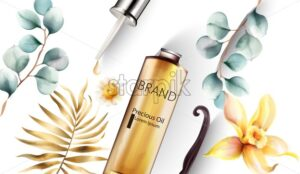 Precious oil bottle with dropper. Golden and blue leaves on background. Place for brand or text. Vector - Starpik Stock