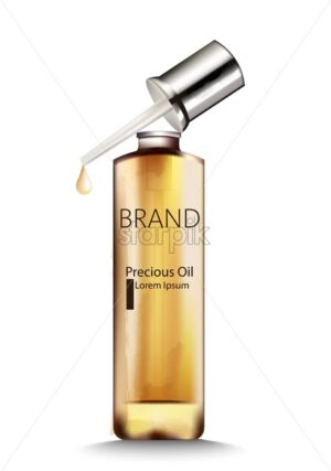 Precious oil bottle with dropper. Place for brand or text. Vector - Starpik Stock