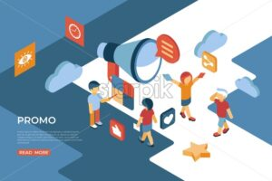 Promo isometric icons flat digital vector with people interacting and technology - Starpik Stock