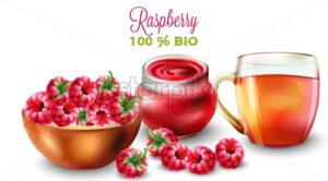 Raspberry tea and jam in watercolor style. Fruits in pot. Vector - Starpik Stock