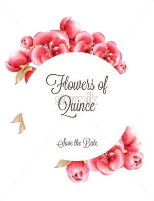 Red Flowers of Quince on tree branch invitation greeting card. Round place for text. Watercolor vector - Starpik Stock