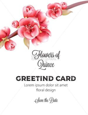 Red Flowers of Quince on tree branch invitation greeting card. Watercolor vector - Starpik Stock