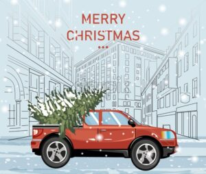Red car carrying evergreen fir tree covered in snow. Blizzard. City buildings on background. Christmas holiday vector - Starpik Stock