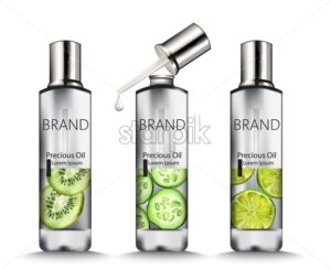 Set of Silver oil bottles with kiwi, cucumber and lime drawings. Place for brand. Vector - Starpik Stock