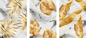 Set of marble backgrounds with golden leaves and cracks. Vector - Starpik Stock