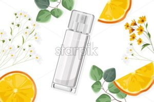 Shiny perfume spray bottle with flowers and fruits on background. Chamomile flowers, leaves and orange slices. Natural herbal cosmetic Vector - Starpik Stock