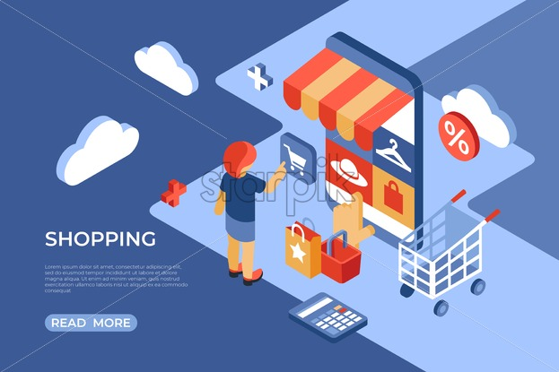 Shopping online store isometric flat icons digital vector with happy customers - Starpik Stock