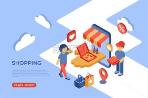 Shopping online store isometric icons flat digital vector with happy customers - Starpik Stock
