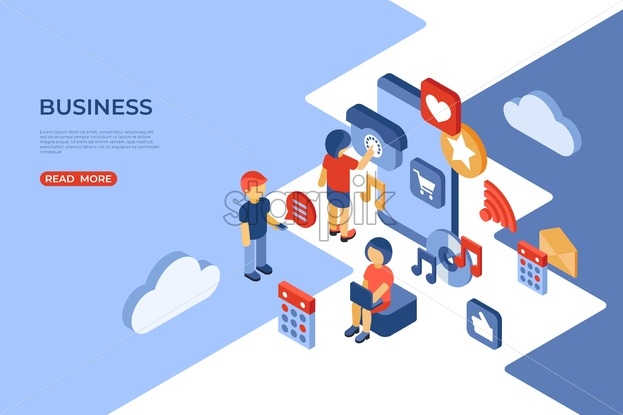 Social media and business isometric icons flat digital vector with happy customers - Starpik Stock