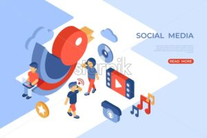 Social media and communication isometric icons flat digital vector with happy customers - Starpik Stock