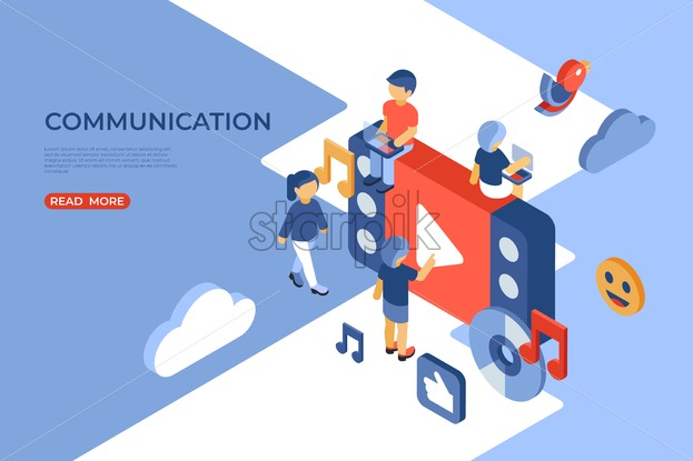 Social networking and communication isometric icons flat digital vector with happy customers - Starpik Stock