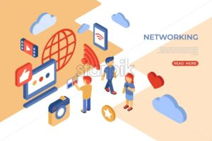 Social networking and internet isometric icons flat digital vector with happy customers - Starpik Stock