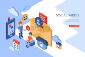 Social networks and mobile phone isometric icons flat digital vector with happy customers - Starpik Stock