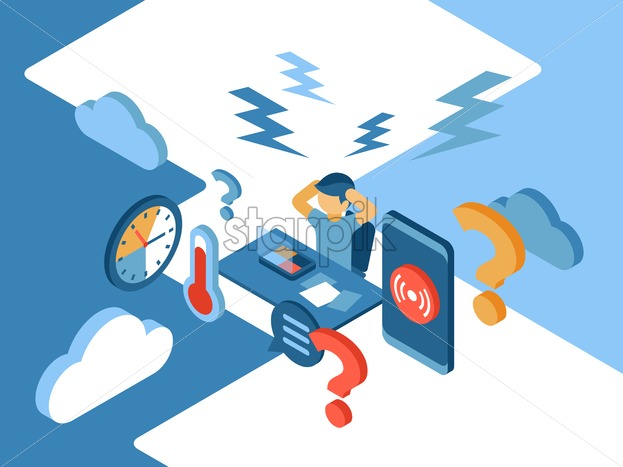 Stress and business isometric icons flat digital vector with angry workerers - Starpik Stock