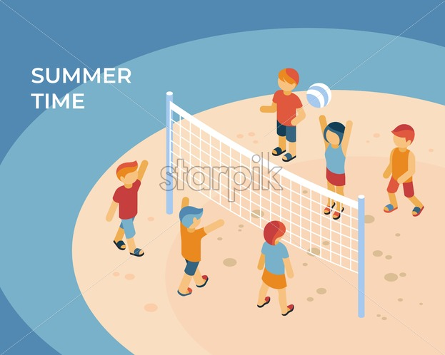 Summer time sport isometric icons flat digital vector with kids playing at the beach - Starpik Stock