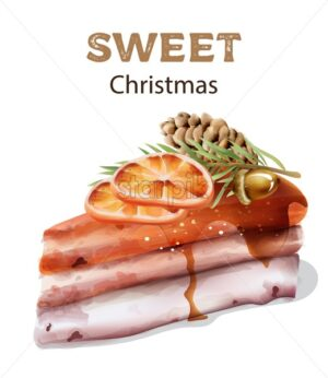Sweet christmas cake with orange slices on top. Pine cone, nuts with leaves. Watercolor winter vector - Starpik Stock