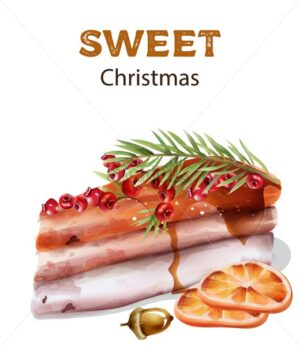 Sweet christmas cake with red berries on top. Orange slices and nuts. Watercolor winter vector - Starpik Stock