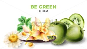 Vanilla, kiwi, apple, chamomile and mint leaves. Green products watercolor vector - Starpik Stock